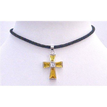 N574  Gold Cross Pendant Necklace Leather Cord Shimmering Gold Cross Penant