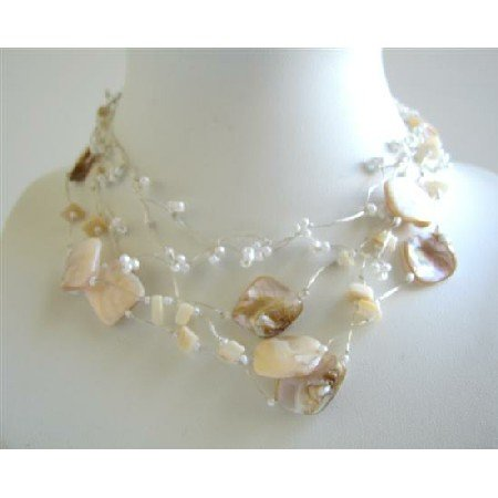 N399  Fancy Beads Shell Natural Color Necklace Accented In Silk Sleek chain w/ Multistrands Necklace