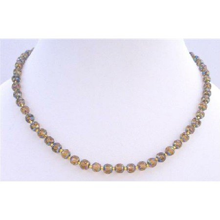 N086  Smoked Topaz Glass Beads Genuine Glass Beads Necklace w/ Golden Glass Spacer Necklace