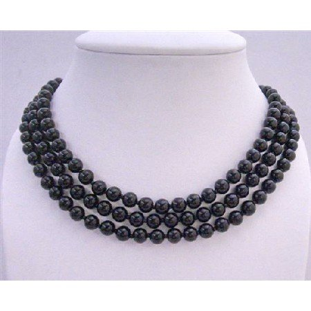N085  Gorgeous Long Black Pearls Necklace 58 Inches Long Necklace