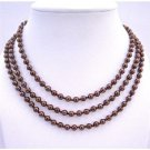 N295  Beaded Pearls Espresso Pearls Long Necklace 56 Inches Can Wear 2 or 3 Stranded Necklace