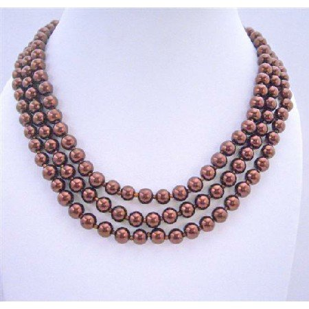 N294  Fashion Necklace Redish Brown Style Long Necklace 62 Inches Long Necklace