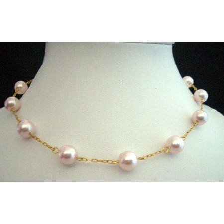 N241  Handcrafted 15 inches Choker 22k Gold Plated Chain W/ Genuine Swarovski Pearls