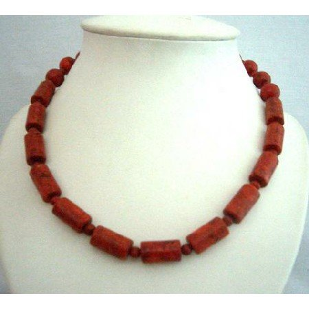 N366  Genuine Coral Red Cylindrical Beads New & Latest Beads Handcrafted Fine Jewelry Necklace