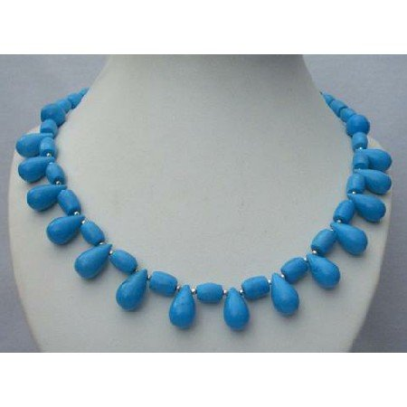 N358  Genuine Turquoise Natural Color Necklaces Handcrafted Turquoise Jewelry w/ Teardrop