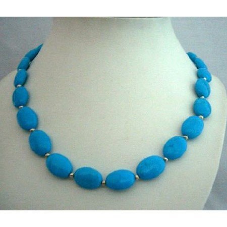 N368  Genuine Natural Turquoise Handcrafted Necklace w/ Silver Beads Turquoise Choker