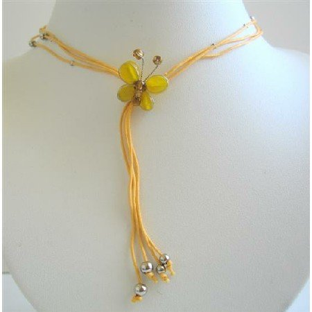 N423  Yellow Leamon Butterfly Necklace w/ Beautiful Tassel Necklace