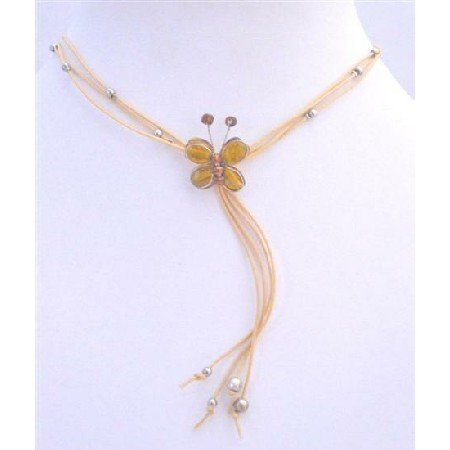 N362  Topaz New Color Butterfly Butterfly Necklace w/ Beautiful Tassel Necklace