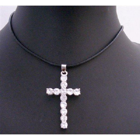 N656  White Cross Pendant w/ Black Leather Cord Necklace Clear Crystals Cross Pendant