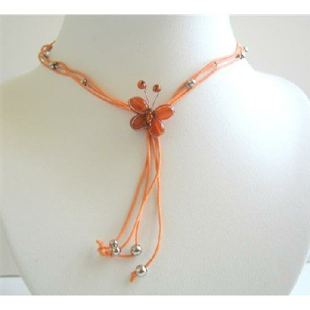 N424  Multistranded Orange Necklace w/ Very Pretty Orange Butterfly Necklace