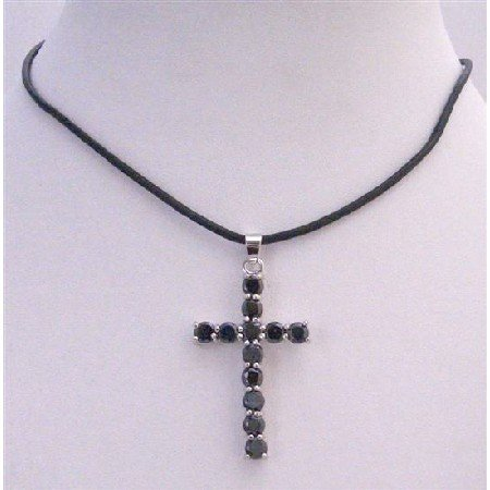 N290  Sparkling Crystals Cross Pendant Long Black Cross Pendant Necklace Leather Cord Necklace