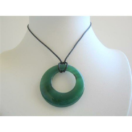 N104  Gorgeous Green Glass Round Pendant Necklace Black Chord Necklace w/ Glass Pendant