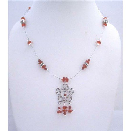 N455Silver Oxidized Flower Pendant Necklace w/Red Glass Beads & Bali Silver Beaded Necklace