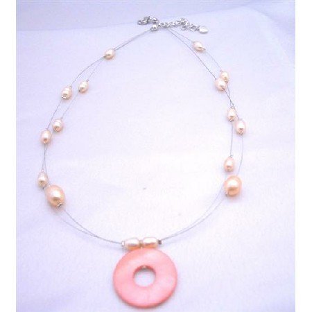N339  Double stranded Necklace Freshwater Pearls w/ Round Shell Pendant Peach/Pink Necklace