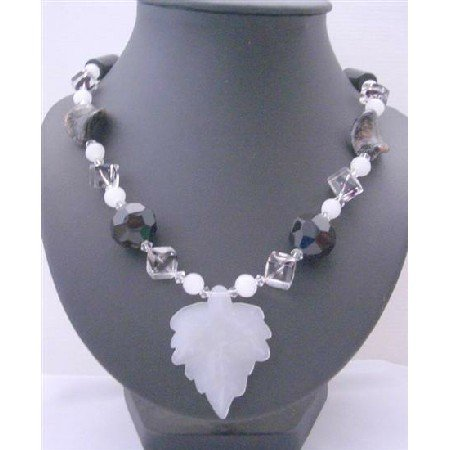 N634  Fancy Glass Beads Black & White Long Necklace w/ Murano Glass Twisted Leaf Long Necklace