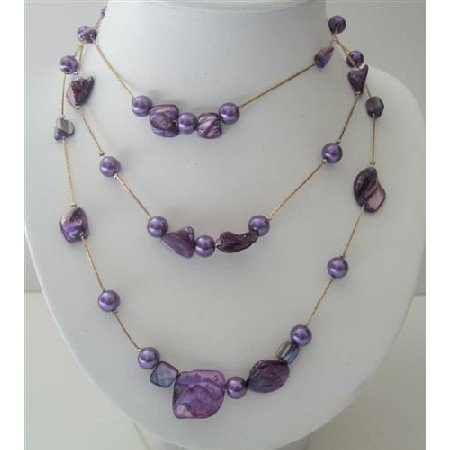 N561  Purple Shell & 3 Stranded Pearls Long Necklace Shell w/ Simulated Pearls