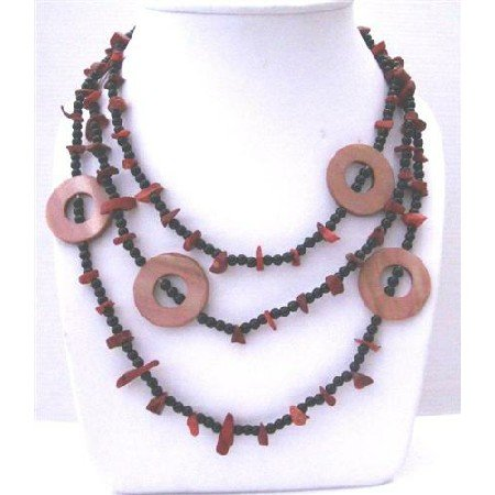 N605  Long NEcklace Coral Nuggets Onyx Beads & Dyed Mother Shell Rings 58 Inches Long Necklaces