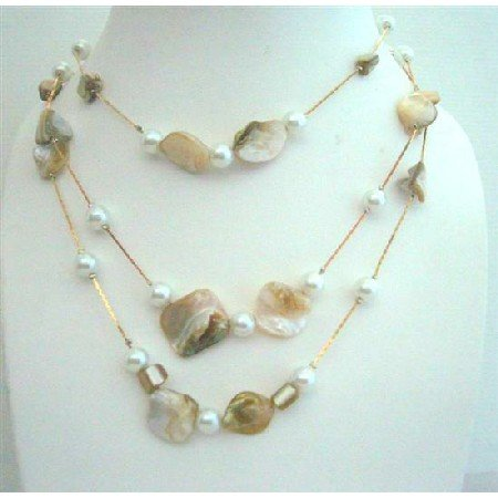 N481  3 Strands Shell & Pearls Long Necklace White Shell & Simulated Pearls 26 Inches Necklace