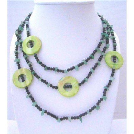 N606  Jade Nuggets Onyx Beads & Green Dyed Mother Shell Rings 58 Inches Long Necklaces