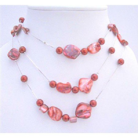 N434  Striking Sexy Red Shell Necklace w/ Red Pearls Three Stranded Silver Plated Necklace