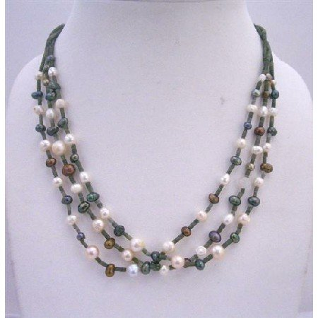 N426  3 Stranded Necklace Freshwater Pearls Metallic Brown Cream & Tumarine Green w/ Jade Beads