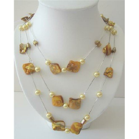 N482  Shell & Pearls Long Necklace Leamon Shell and Simulated Yellow Pearls 26 Inches Necklace
