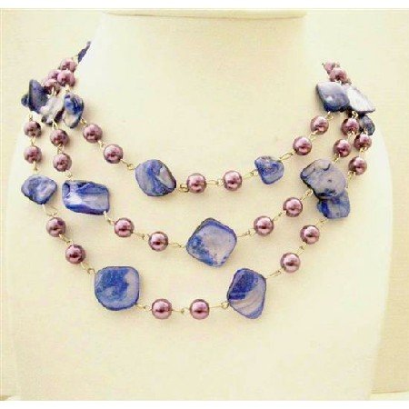 N610  Indigo Color Dyed Mother Shell w/ Synthetic Pearls 3 Stranded Long Necklace