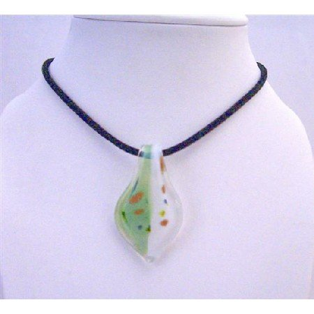 N653 Murano Leaf Glass Pendant Hand Painted Genuine Glass Pendant w/ Chord Necklace