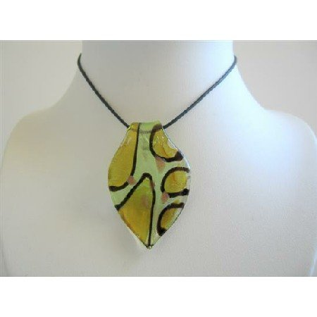 N581  Sexy Painted Glass Leaf Pendant Necklace w/ Black Chord Necklace