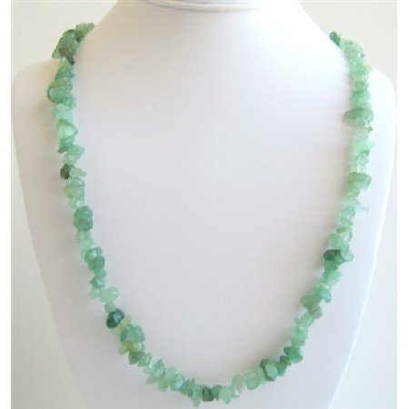N083  Jade Stone Nugget Long Necklace Stunning Necklace For All Ages