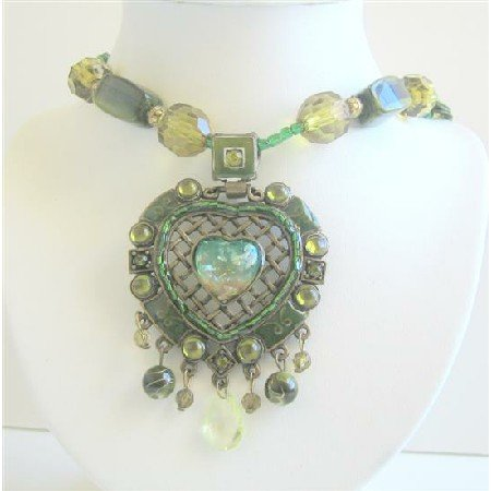 N491  Green Multi Stranded Necklace Holding Traditional Heart Pendant w/ Dangling Beads Necklace