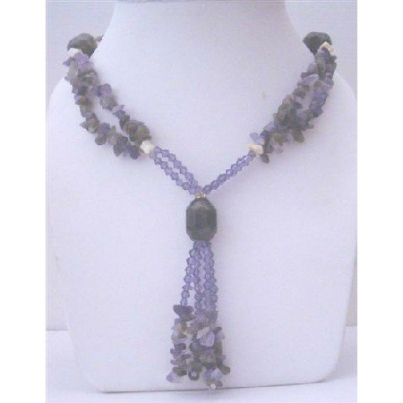 N418  Long Necklace Amethyst Nugget Long Necklace w/ Simulated Amethyst Crystals