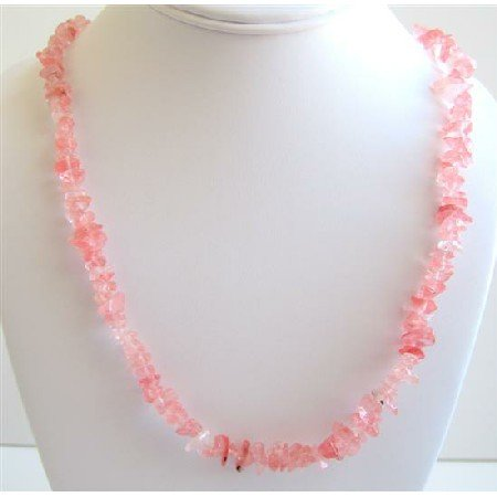 N084  Soothing Stylish Necklace Rose Pink Nuggets Accented Long Necklace