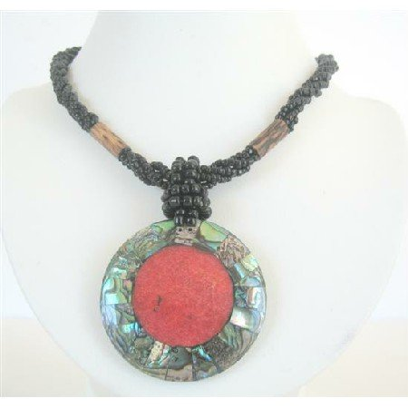 N594  Black Beaded Necklace Button Clasp w/ Abalone Round Pendant Embedded Coral Stone