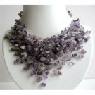 N609  Amethyst Stone Nugget Necklace Stone Chip Multiple Drop Tassel Lovely Necklace