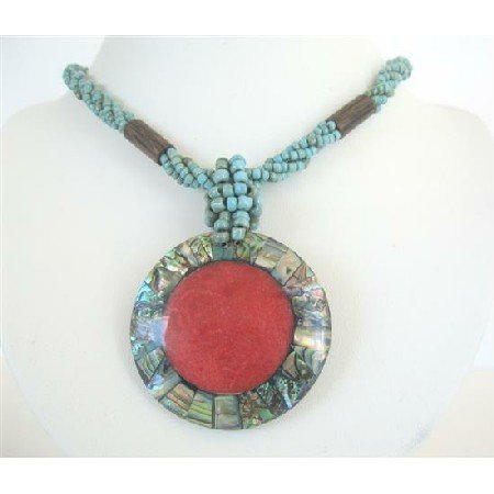 N595  Turquoise Beaded Necklace w/ Abalone Round Pendant Embedded Coral Stone