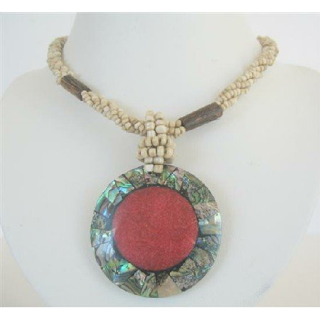 N593  Cream Beaded Necklace Button Clasp w/ Abalone Round Pendant Embedded Coral Stone