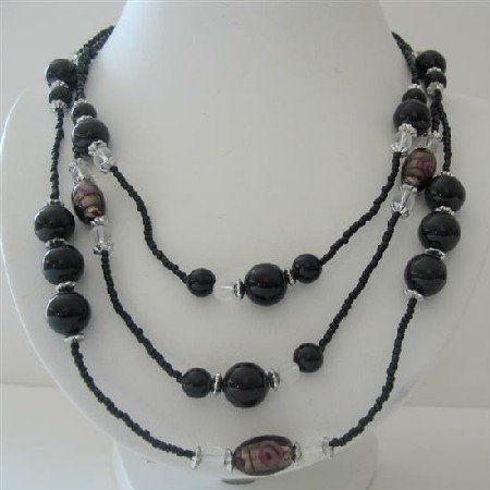 N571  Black Pearls Three Stranded Beaded Necklace Simulated Pearls Millefiori Painted Beads