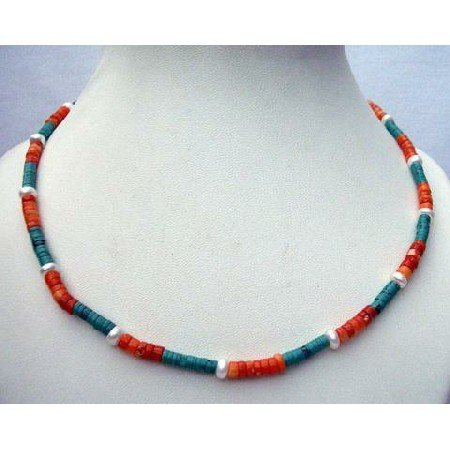 N410  Genuine Turquoise Red Coral Ring Bead Necklace Handmade Custom Jewelry