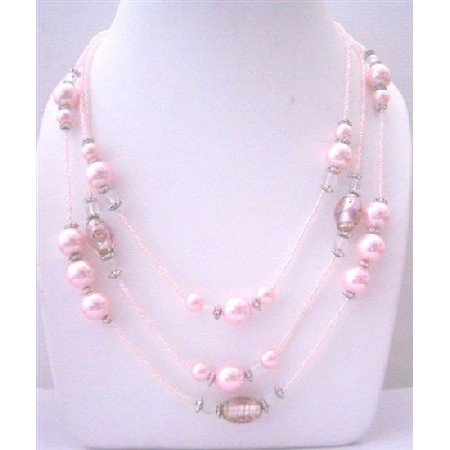 N643  Multi Pink Beaded 3 Strands Necklace pink Pearls Millefiori Painted Beads Long Necklace