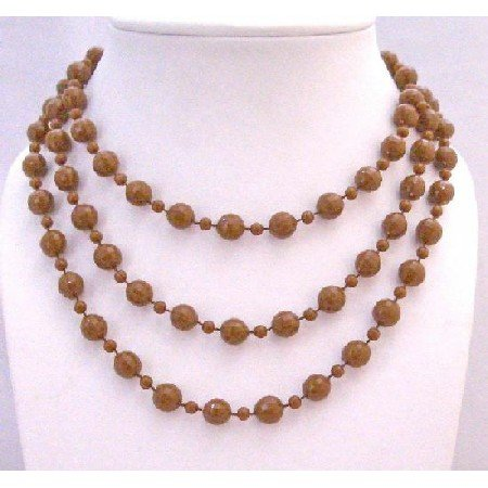 UNE135  Striking Brown Long Necklace Small Big Beads Brown Long Necklace 54 Inches Long