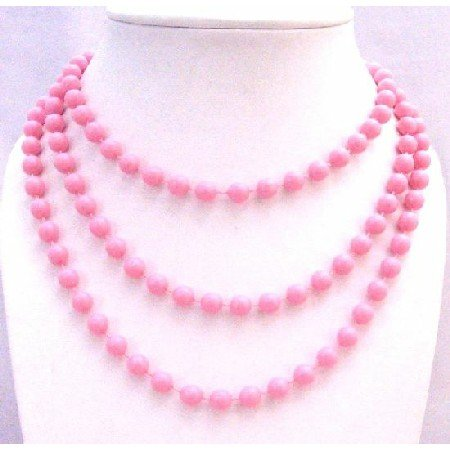 U185  Pink Color Bead Long Necklace 54 Inches Long Necklace