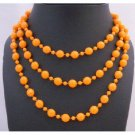UNE124  Orange Cultured Pearls Long 54 Inches Necklace
