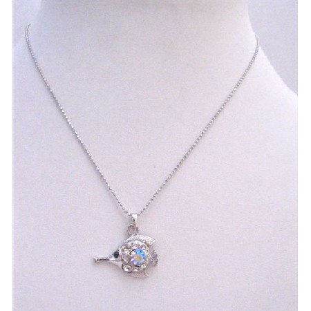 UNE219  Fish Pendant Necklace Fully Embedde w/ Cubic Zircon In Silver Chain