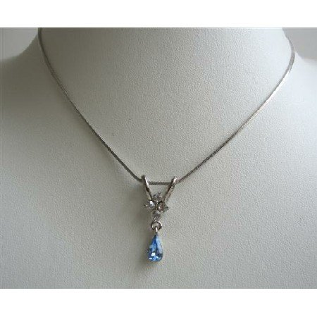 UNE223  Cute Pendant Necklace w/ Blue Cubic Zircon Teardrop Dangling Pendant Necklace