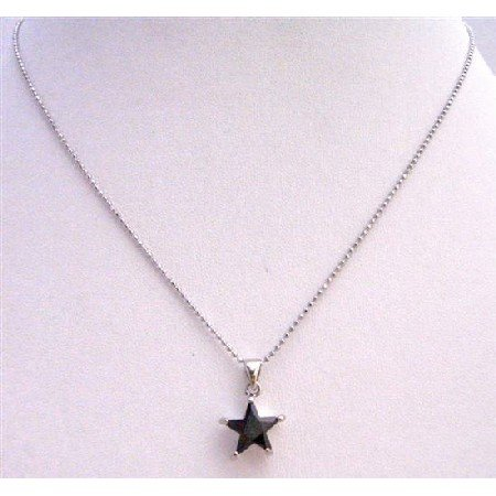 UNE216  Black Star Pendant Pendant Necklace Embedded w/ Immitation Jet Crystals Necklace