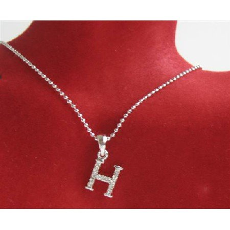 UNE231  H Alphabet Pendant Necklace Letter H Fully Embedded w/ Cubic Zircon Pendant Necklace