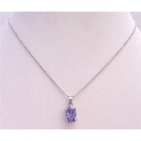 UNE217  Light Amethyst Cubic Zircon Faceted Pendant Necklace