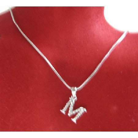 UNE228 Alphabet Pendant Necklace Letter M Fully Embedded w/ Cubic Zircon Pendant Necklace