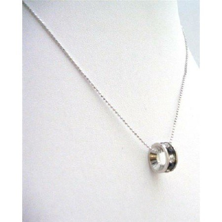 UNE215  Black Ring Pendant Necklace Embedded w/ Cubic Zircon Necklace